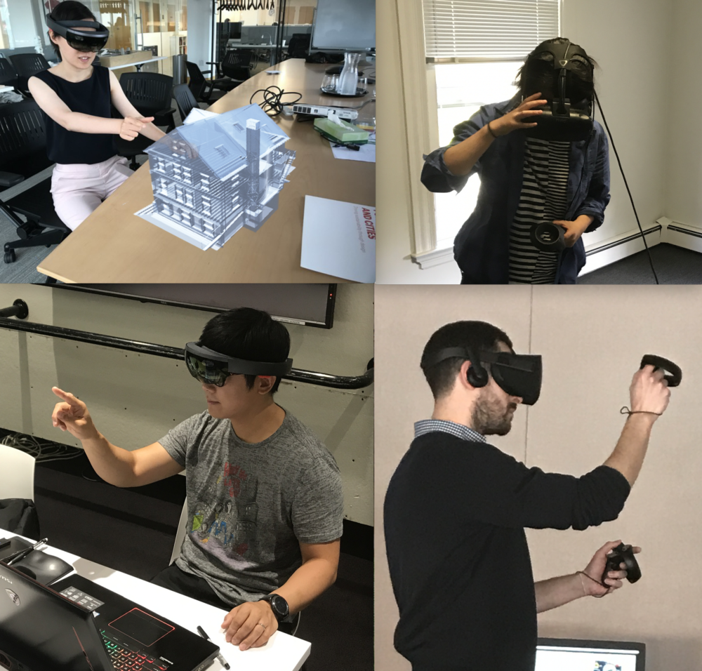 Microsoft Hololens (AR) and HTC Vive (VR)  headsets in use