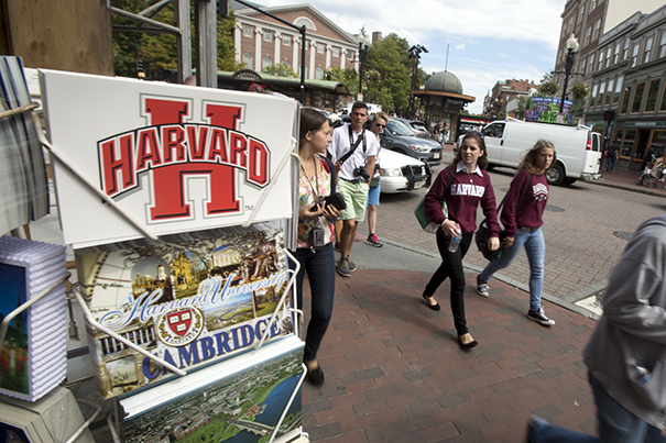 Tourists populate Harvard Square near Harvard University in Cambridge, Massachusetts. Rose Lincoln/Harvard Staff Photographer