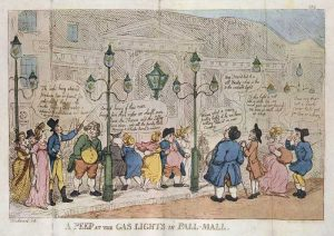 A Peep at the Gas Lights in Pall Mall by Rowlandson