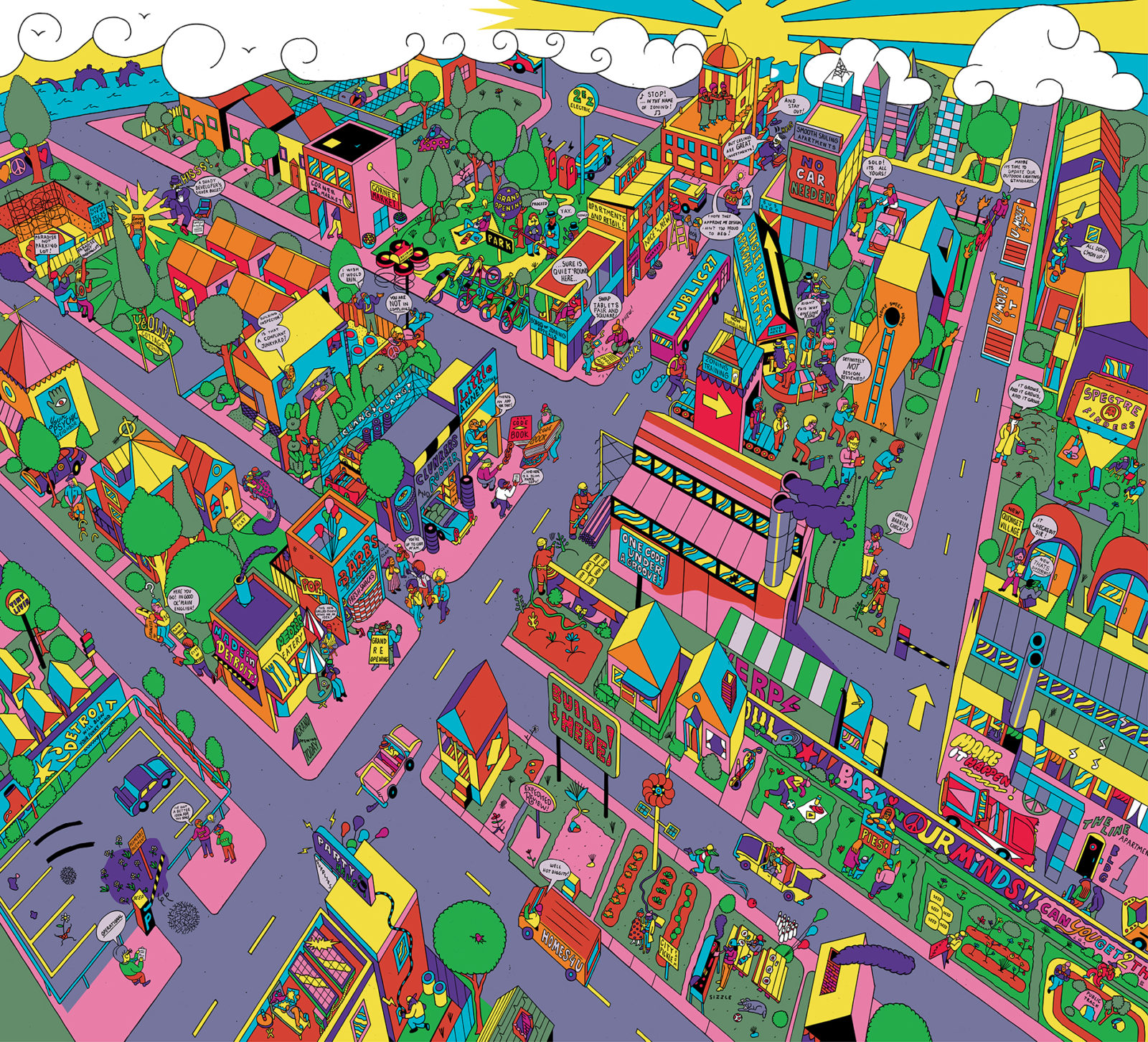 Cartoon multi-colored city drawing of Detroit
