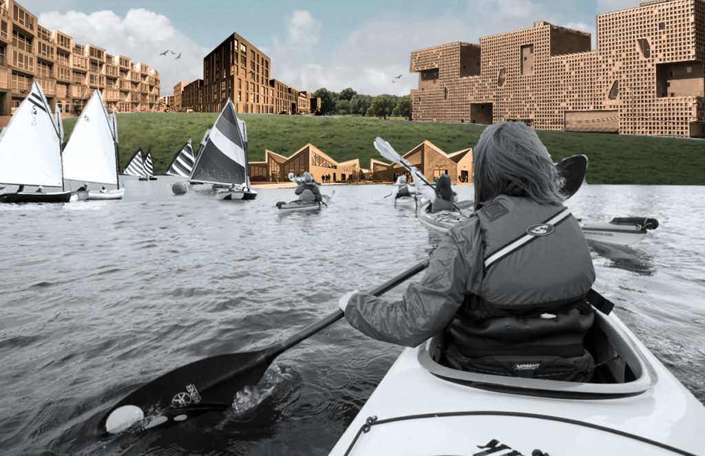 Rendering showing people kayaking towards new housing