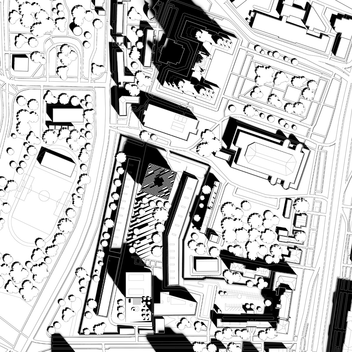 Image of the site plan of the embassy compound, with the new chancery to the north