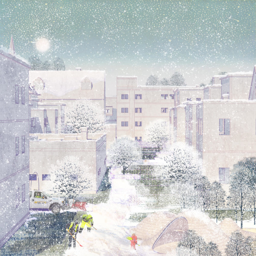 winter rendering with snow storage units