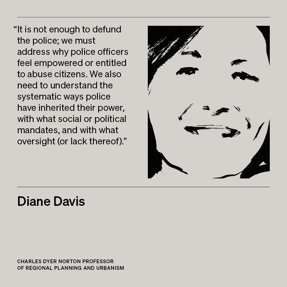 Illustration of Diane Davis, Charles Dyer Norton Professor of Regional Planning and Urbanism, with text