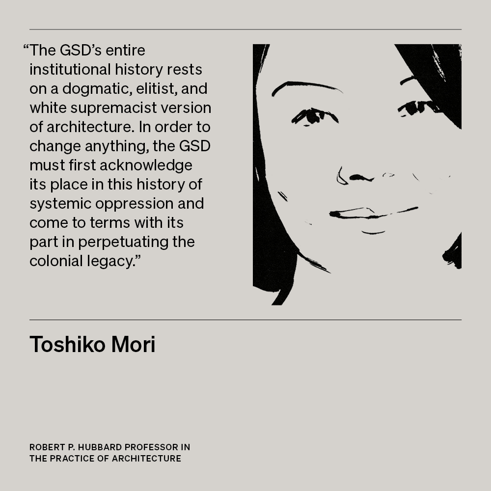 Illustration of Toshiko Mori, Robert P. Hubbard Professor in the Practice of Architecture, with text