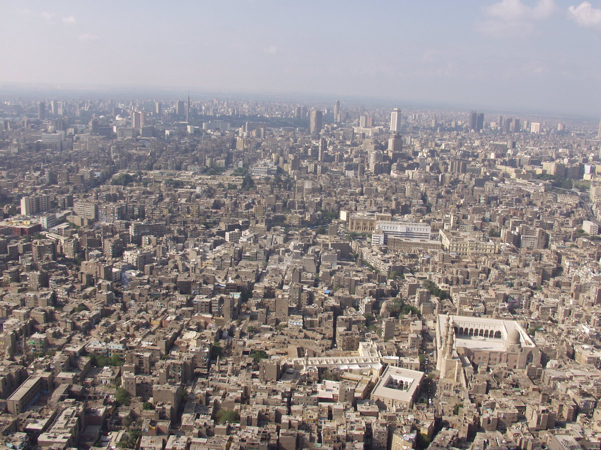 Aerial view of the city of Cairo, Egypt.