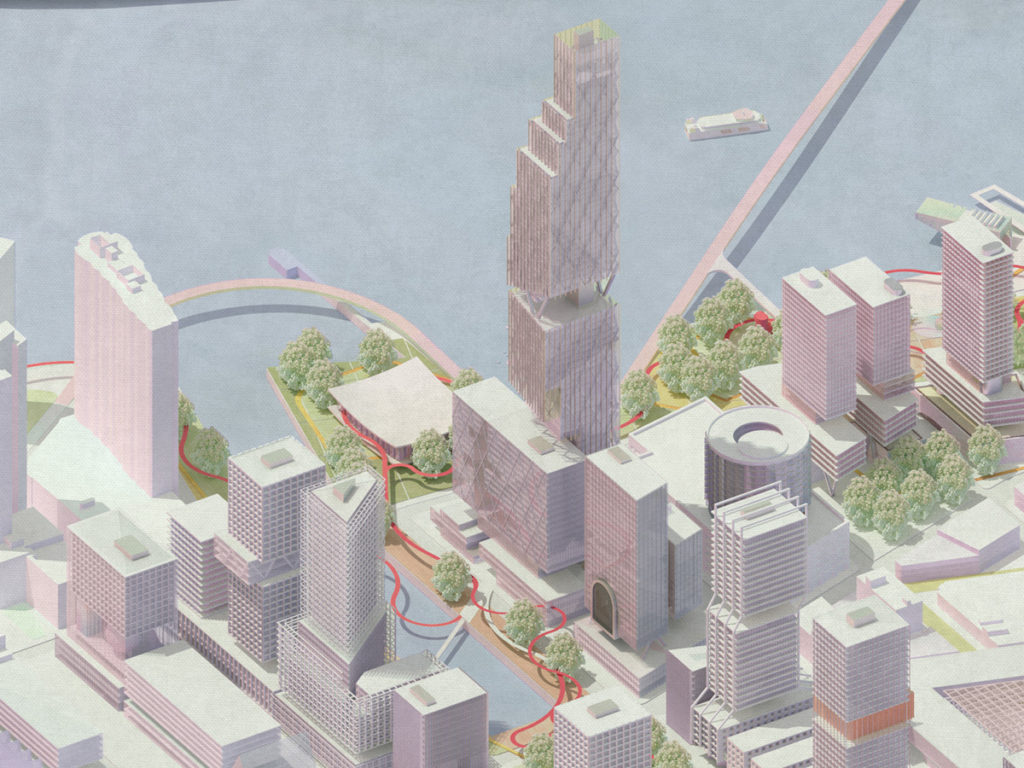 Detailed axonometric view of buildings near East River