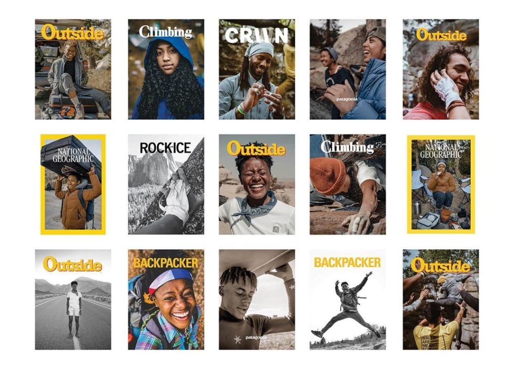 Collage of adventure magazine covers featuring BIPOC cover stars.