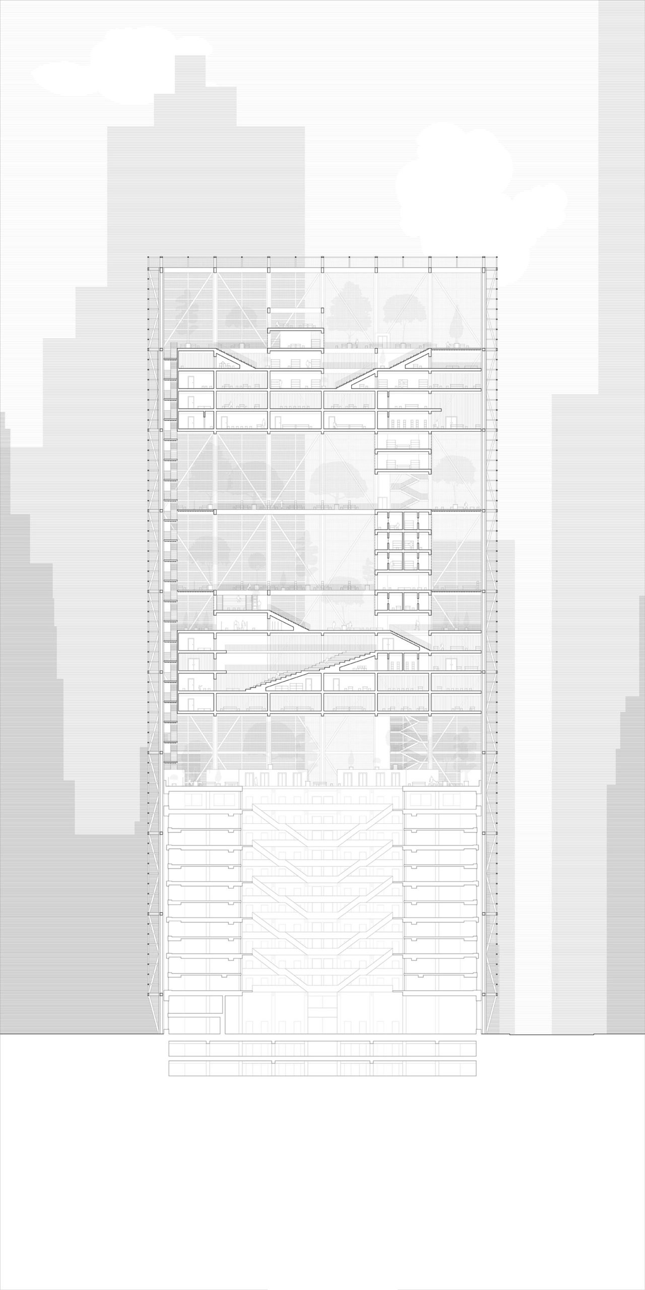 Sectional drawing of building