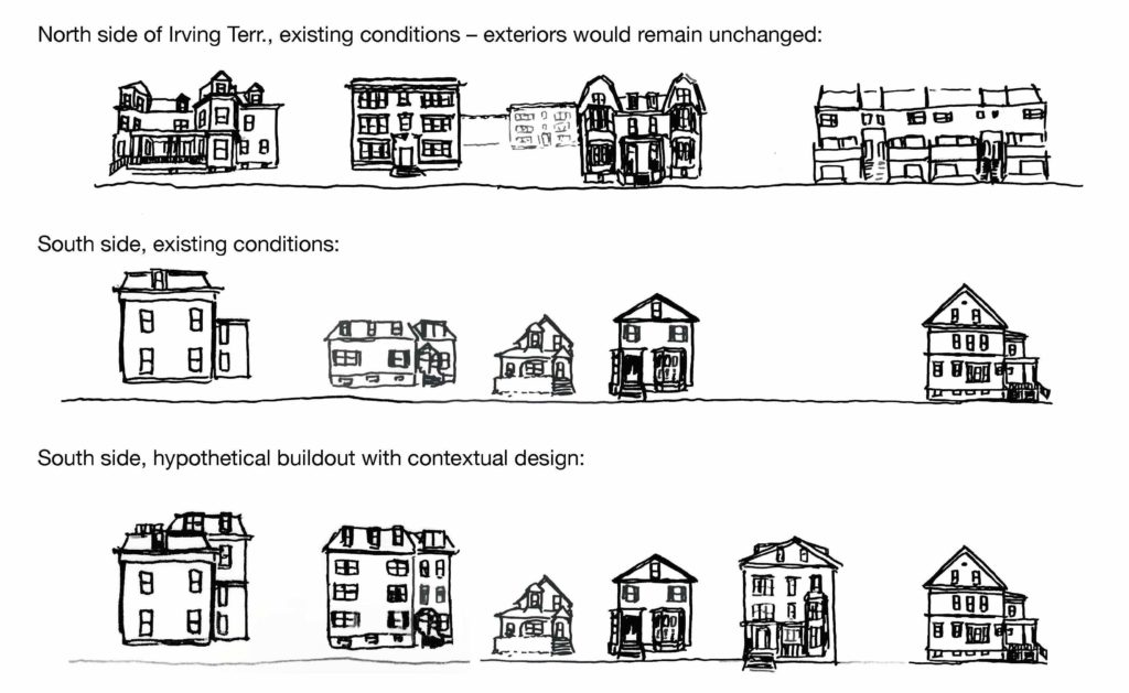 Series of drawings showing housing with existing conditions and hypothetical buildouts.