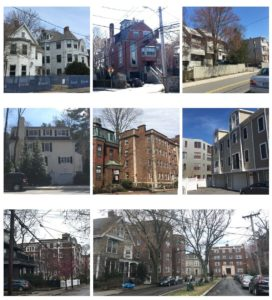 Collage of four story buildings found in Cambridge.