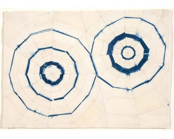 Abstract painting with two dark blue circles on an off-white background