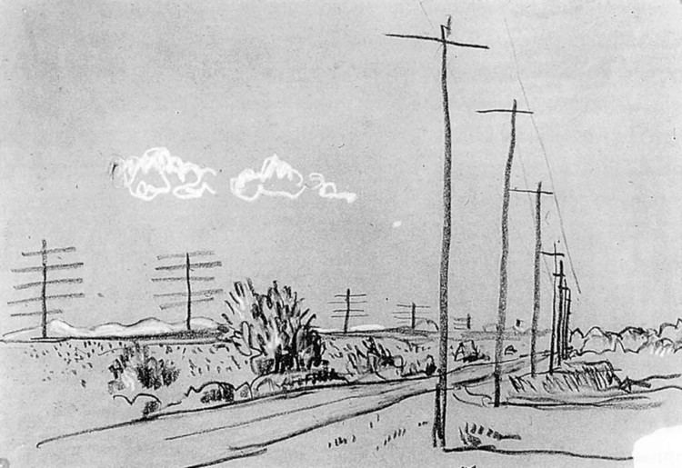 Image of black and white drawing of American rural landscape