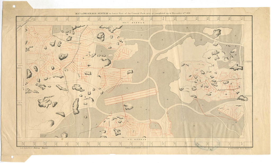 Map of drainage system of Central Park from 1858.