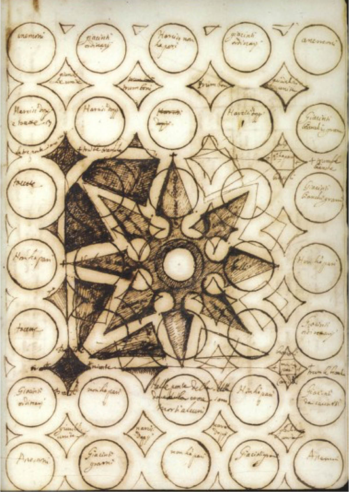 Sepia-colored plan for a garden, with many circles and a star-shaped center.