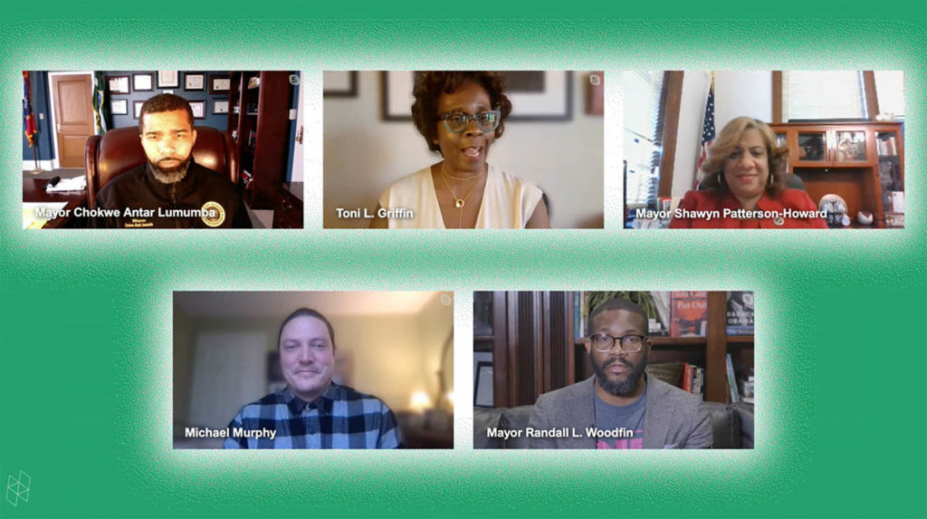 Screenshot from a virtual event. Five separate rectangles show five speakers. They are all surrounded by a green background.