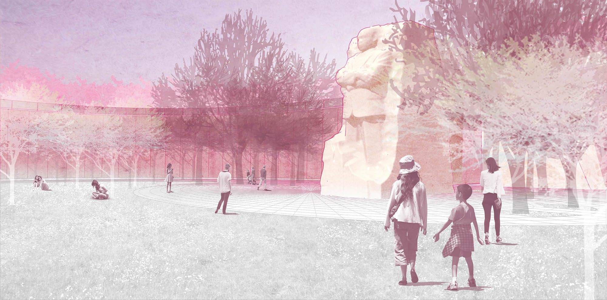 Rendering showing MLK monument among foliage