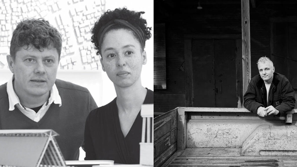 Black and white image of Heinrich and Ilze Wolff next to a black-and-white image of Andrew Freear, who leans over the back of a pickup truck.