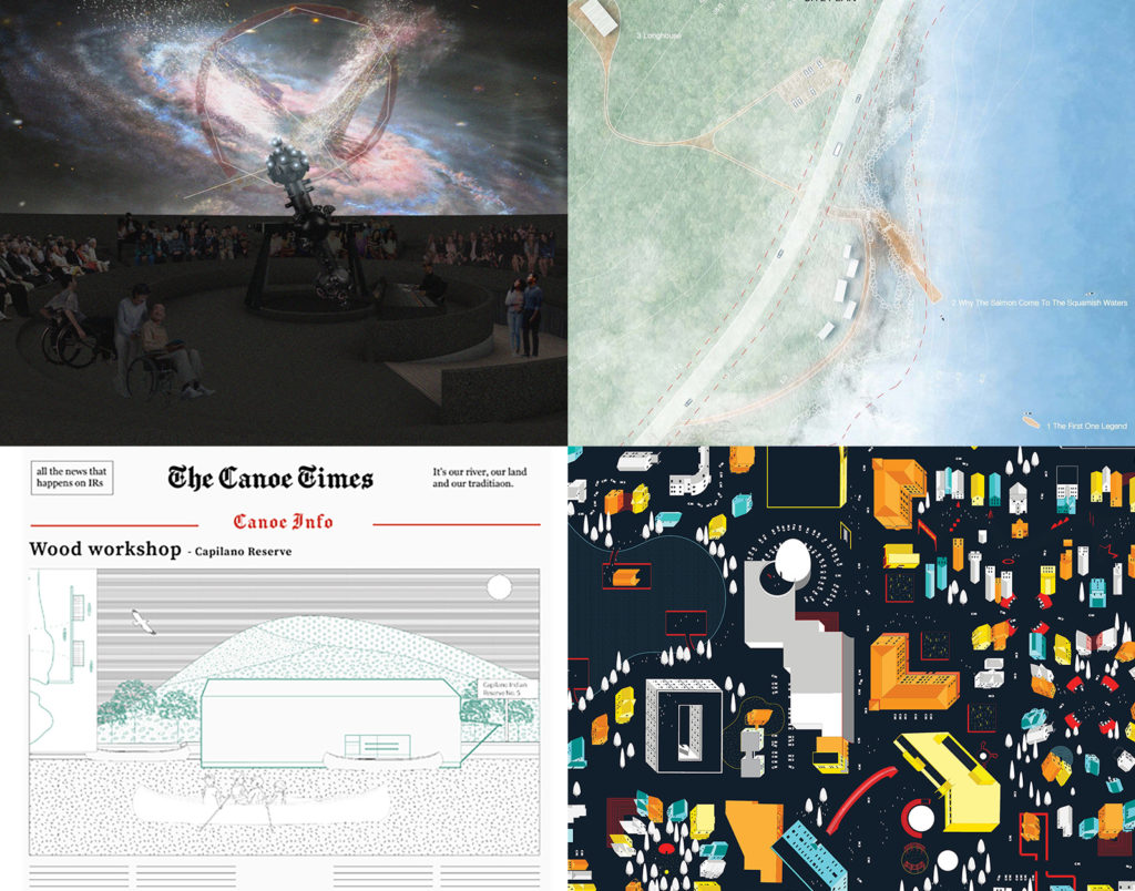 A collage of four projects showing a planetarium interior, a landscape site plan, an aerial drawing of a city map, and a newspaper front page.