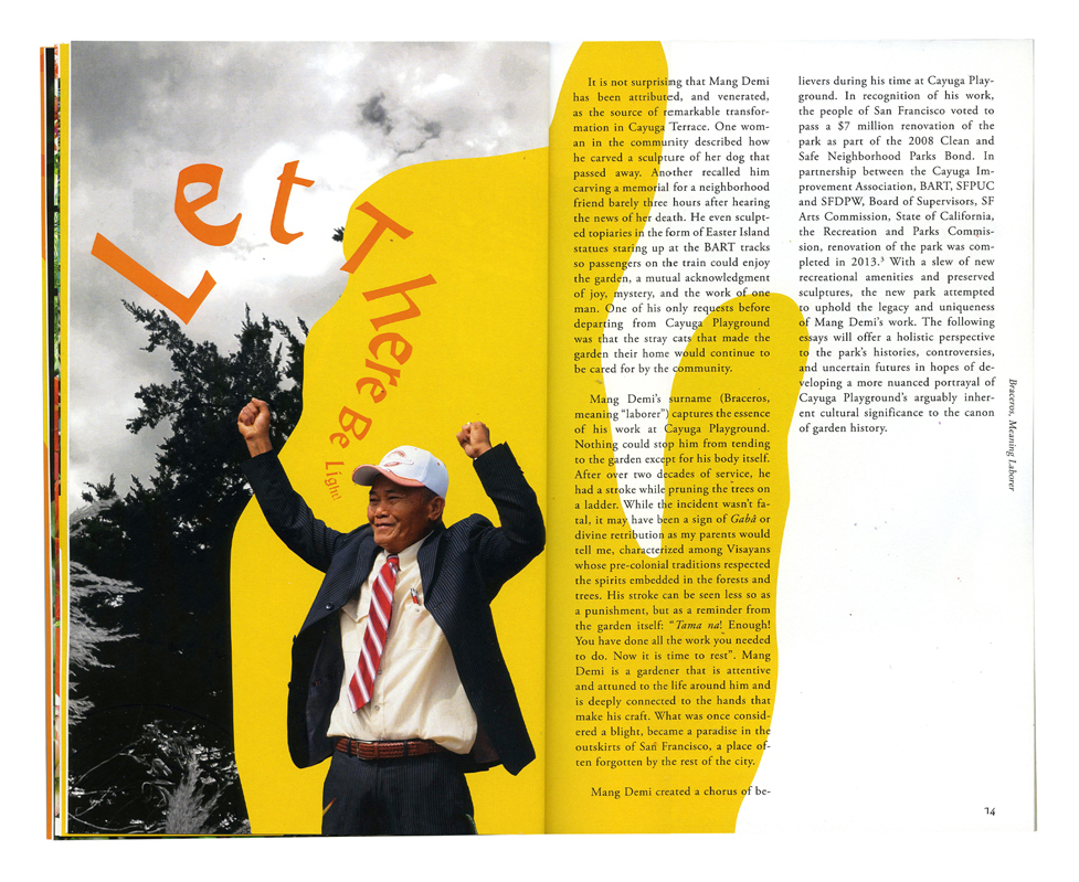 Spread from Yoni Carnice's book. Man on the left and text on the right.
