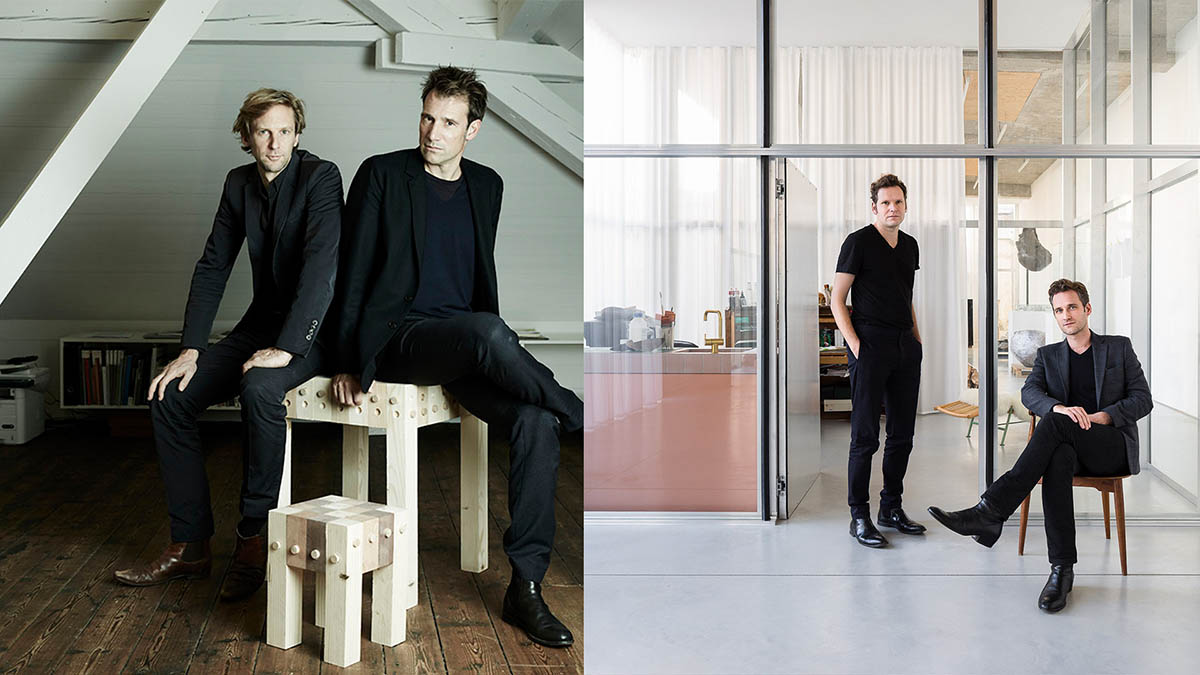 Side-by-side photographs of founders of Christ & Gantenbein and OFFICE Kersten Geers David Van Severen. Each photo shows two figures wearing all black in an office space.
