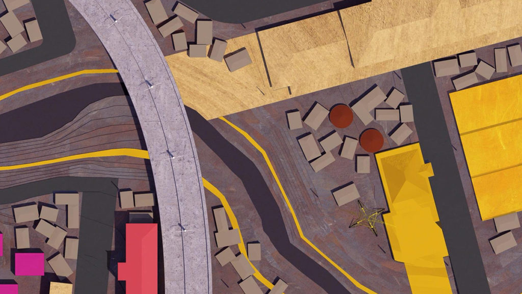 Aerial view of a model urban landscape in yellow, purple and pink